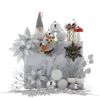 Set of 30 Belham Living Gnome Holiday Shatterproof Ornament (Silver & White)