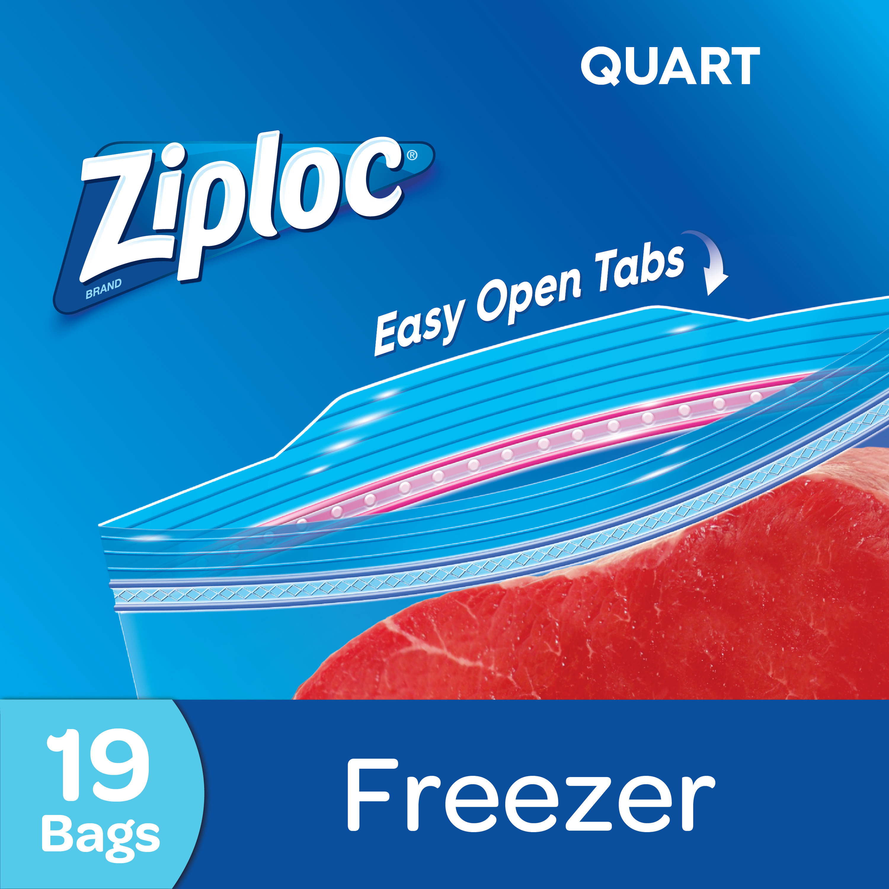 Ziploc Freezer Bags, Quart, 19 count