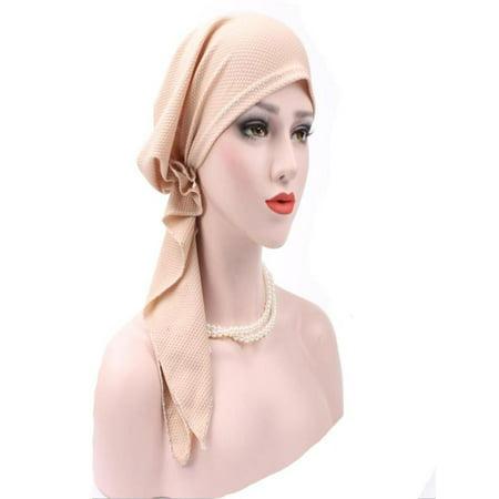 Black Badge (Women India Muslim Stretch Turban Hat Cotton Hair Loss Head Scarf Wrap Beige )