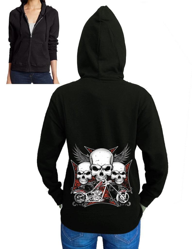 Junior's 3 Skull Chopper Biker Black Fleece Zipper Hoodie Medium Black