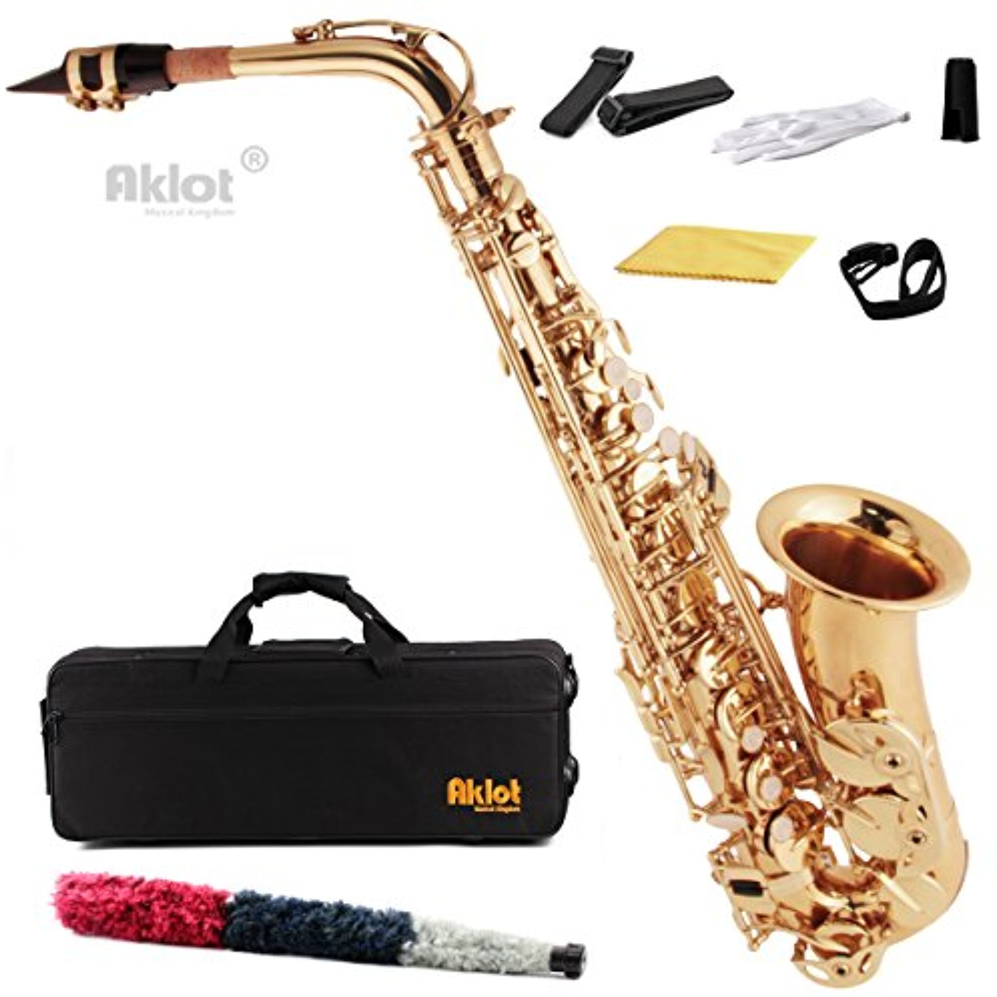 Aklot Eb Alto Saxophone Sax Gold Lacquered Brass Body with Mouthpiece Reed and Case by Kmise