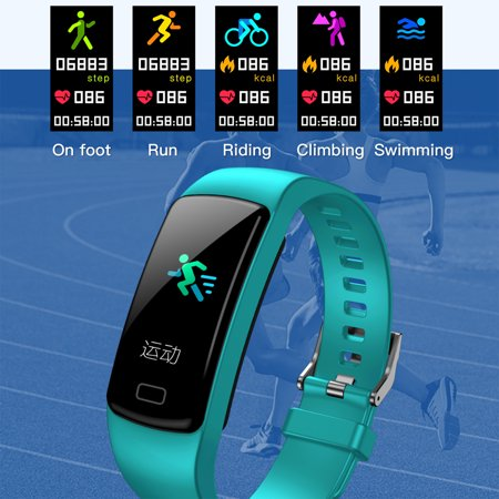 Fitness Tracker with Heart Rate Monitor Blood Pressure Smart Bracelet Color Display Sports Watch Pedometer Step Calorie for Women Men Kids - image 1 of 9