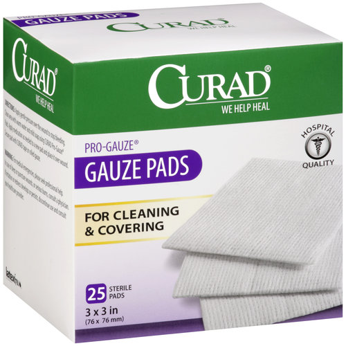 "Curad Pro-Gauze Sterile Pads, 3"" x, 3"", 25ct"