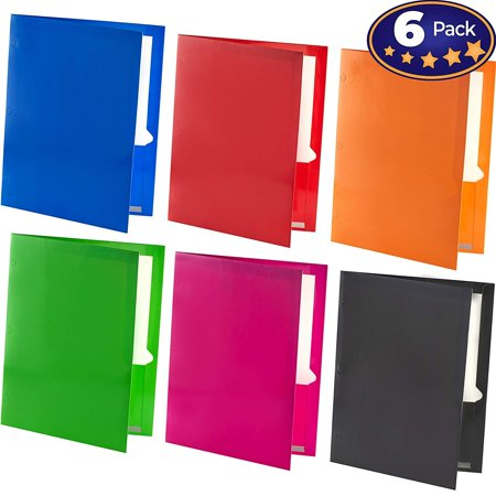 Premium 2 Pocket Laminated Folders 6 Pack. Our 3 Hole, 12.5 x 9.5 in Portfolios Fit Easily Into Any Students Standard School Trapper Keepers Or Binders. Essential Students Supply