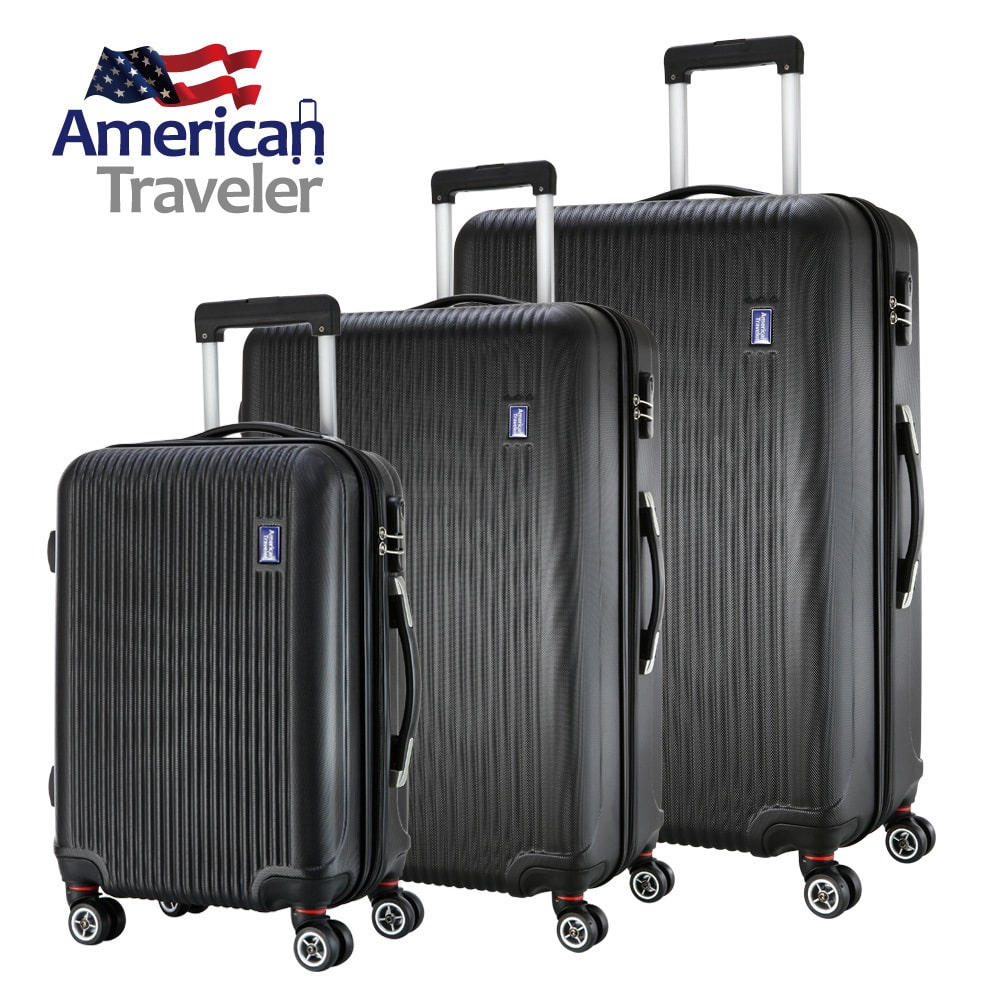 American Traveler Lightweight Anti-scratch 3 Piece Luggage Set  - Glossy Striped Durable ABS Suitcase with 360 Spinner Wheel and TSA Lock (Black)