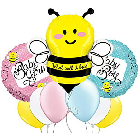 Custom, Fun & Cool 9 Pack of Helium & Air Inflatable Mylar/Latex Balloons w/ What Will It Bee Baby Girl Baby Boy Bumble Bee Design [Variety Assorted Multicolor in Pink Blue Yellow Black Gray & White]](Inflatable Balloon)