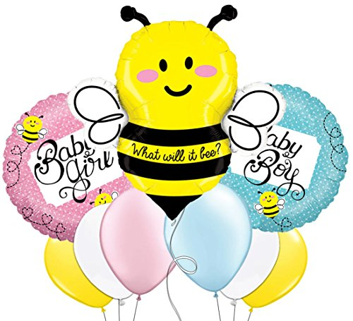 Custom, Fun & Cool 9 Pack of Helium & Air Inflatable Mylar/Latex Balloons w/ What Will It Bee Baby Girl Baby Boy Bumble Bee Design [Variety Assorted Multicolor in Pink Blue Yellow Black Gray & White]