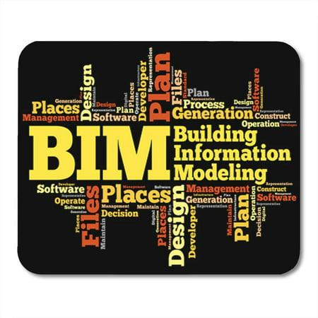 KDAGR Model Bim Building Information Modeling Word Cloud Abbreviations Acronym Mousepad Mouse Pad Mouse Mat 9x10 inch Contour Cloud Pad