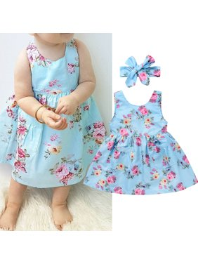 2pcs Infant Toddler Kids Baby Girls Summer Floral Dress Party Casual Sundress Headband Clothes Outfits