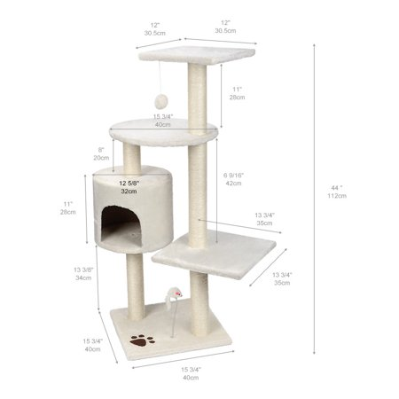"""44"""" Cat Tree with Sisal-Covered Scratching Posts, Multi Level Activity Center Kitty Condo Furniture (White) - image 8 of 8"""