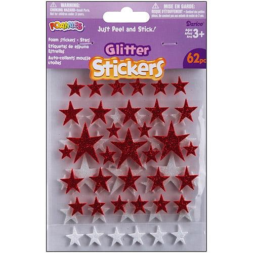 Foam Glitter Stickers, Red/White Stars, 62pk
