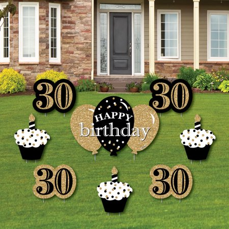 Adult 30th Birthday - Gold - Yard Sign & Outdoor Lawn Decorations - Birthday Party Yard Signs - Set of 8 - Signs Of Birthday