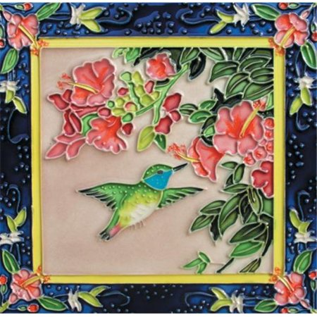 En Vogue B-241 Humming Bird with Flower 1 - Decorative Ceramic Art Tile - 8 in. x 8 in.](Ceramic Bird)