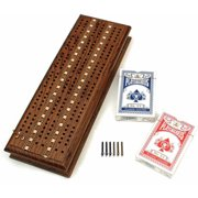 Cabinet Cribbage Set, Solid Oak Medium Stained Wood with Inlay Sprint 3 Track Board with Metal Pegs and 2 Decks of Cards