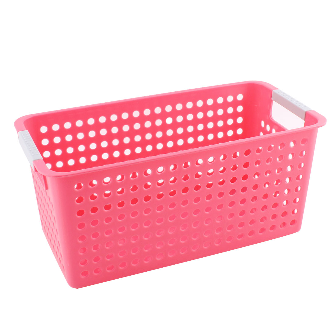 Office School Family Plastic Hollow Out Design Storage Basket Container Pink