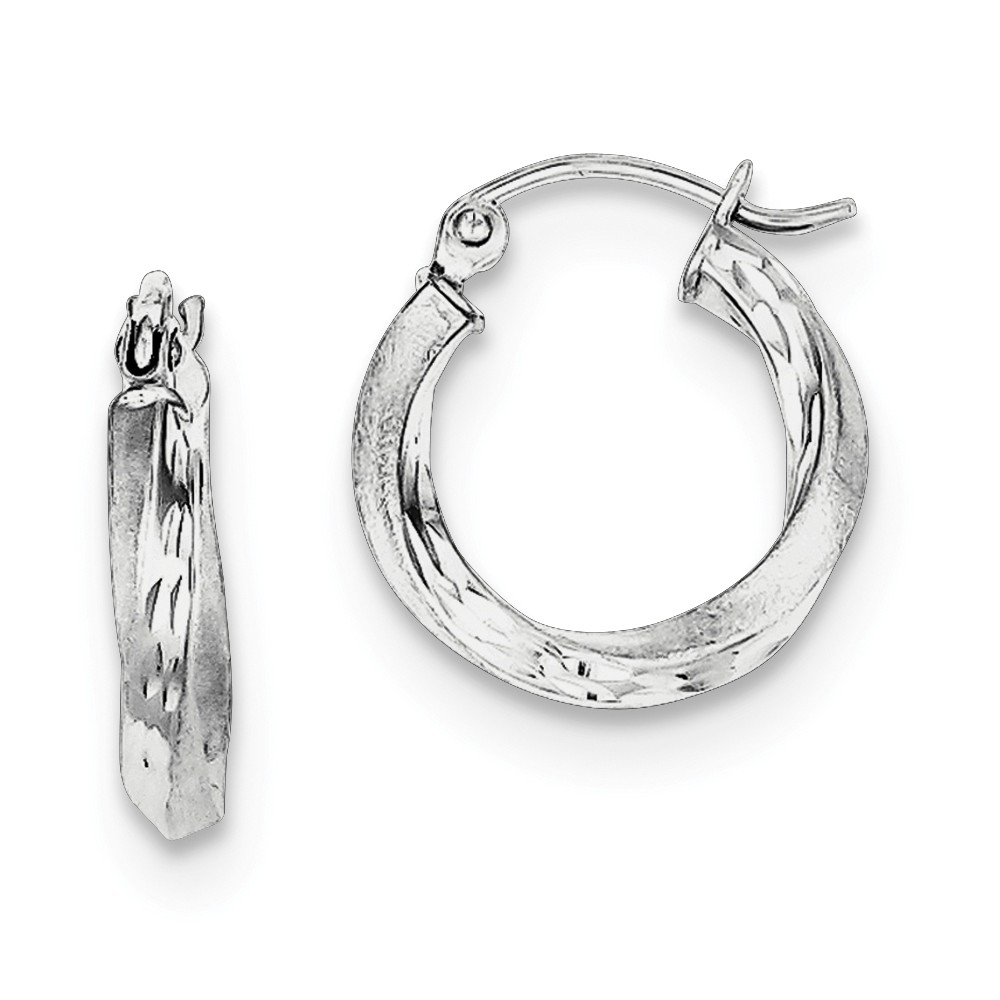 Mia Diamonds 925 Sterling Silver Rhodium-Plated Hollow Hinged Hoop Earrings 21mm x 22mm