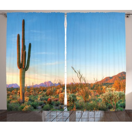 (Saguaro Cactus Decor Curtains 2 Panels Set, Sun Goes Down In Desert Prickly-Pear Cactus Southwest Texas National Park, Living Room Bedroom Accessories, By Ambesonne)