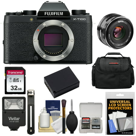 Fujifilm X-T100 Digital Camera Body (Black) with 35mm f/1.7 Lens + 32GB Card + Case + Battery + Flash +