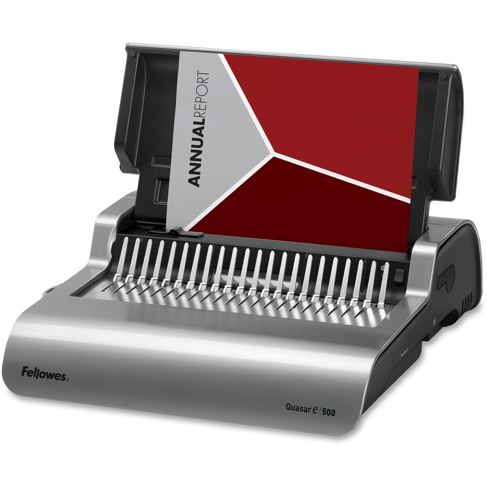 Fellowes Quasar E500 Electric Comb Binding Machine, Metallic Silver, Black by Fellowes, Inc
