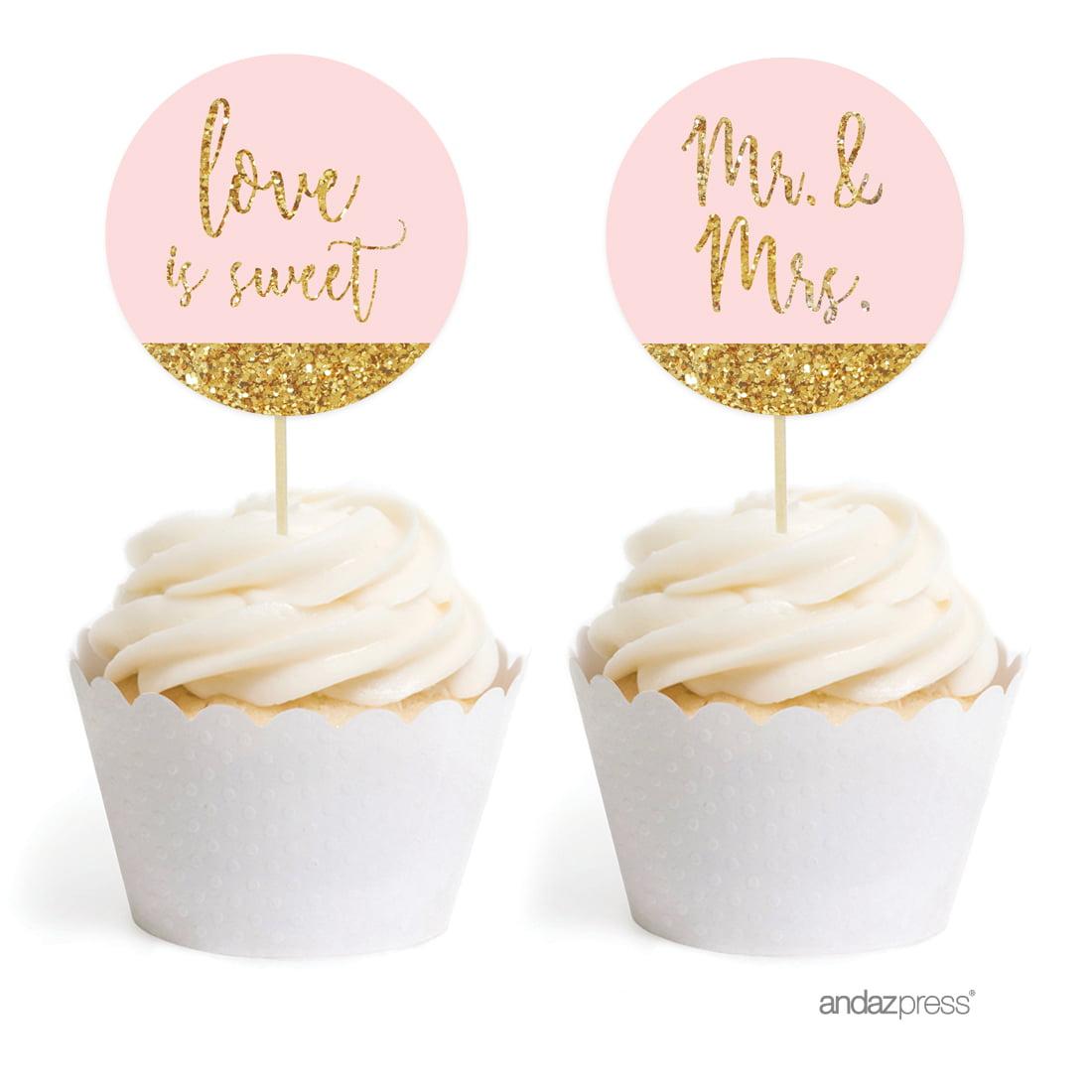 Blush Pink Gold Glitter Print Wedding Round Cupcake Topper DIY Party Favors Kit, 20-Pack