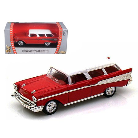 - 1957 Chevrolet Nomad Red 1/43 Diecast Car Model by Road Signature