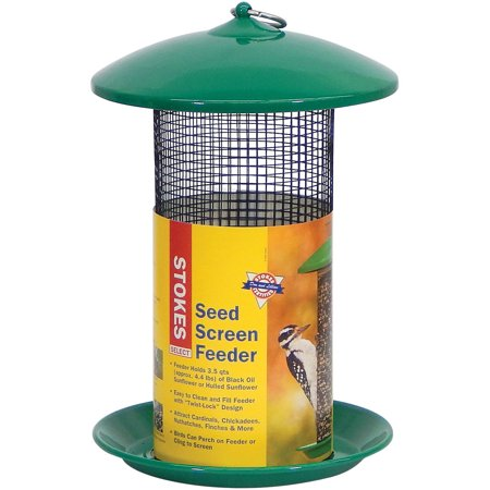Metal Bird Feeder - Stokes Select Seed Screen Bird Feeder with Metal Roof, Green, 4.4 lb Seed Capacity