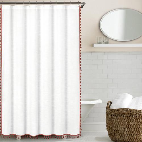 Echelon Home 100pct Cotton Tassel Shower Curtain