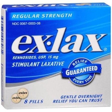 Ex Lax Laxative - Ex-Lax Regular Strength Stimulant Laxative Pills, 8 Ct
