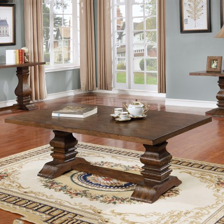 Best Quality Furniture Classic Style Solid Wood Walnut Coffee Table CT420 ()