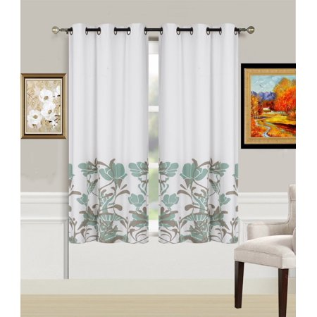 2-Piece ER2 SAGE Printed Lined Blackout Grommet Window Curtain Treatment, Set of Two (2) Floral Pattern Room Darkening Panels 37