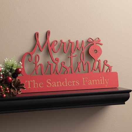 Merry Christmas Personalized Red Wood Plaque Red Seat Plaque