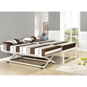 39 twin size white metal pop up high riser trundle bed frame for - High Riser Bed Frame