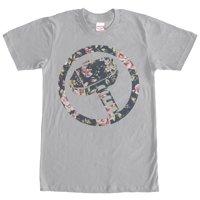 Marvel Men's Hammer Thor Floral Print T-Shirt