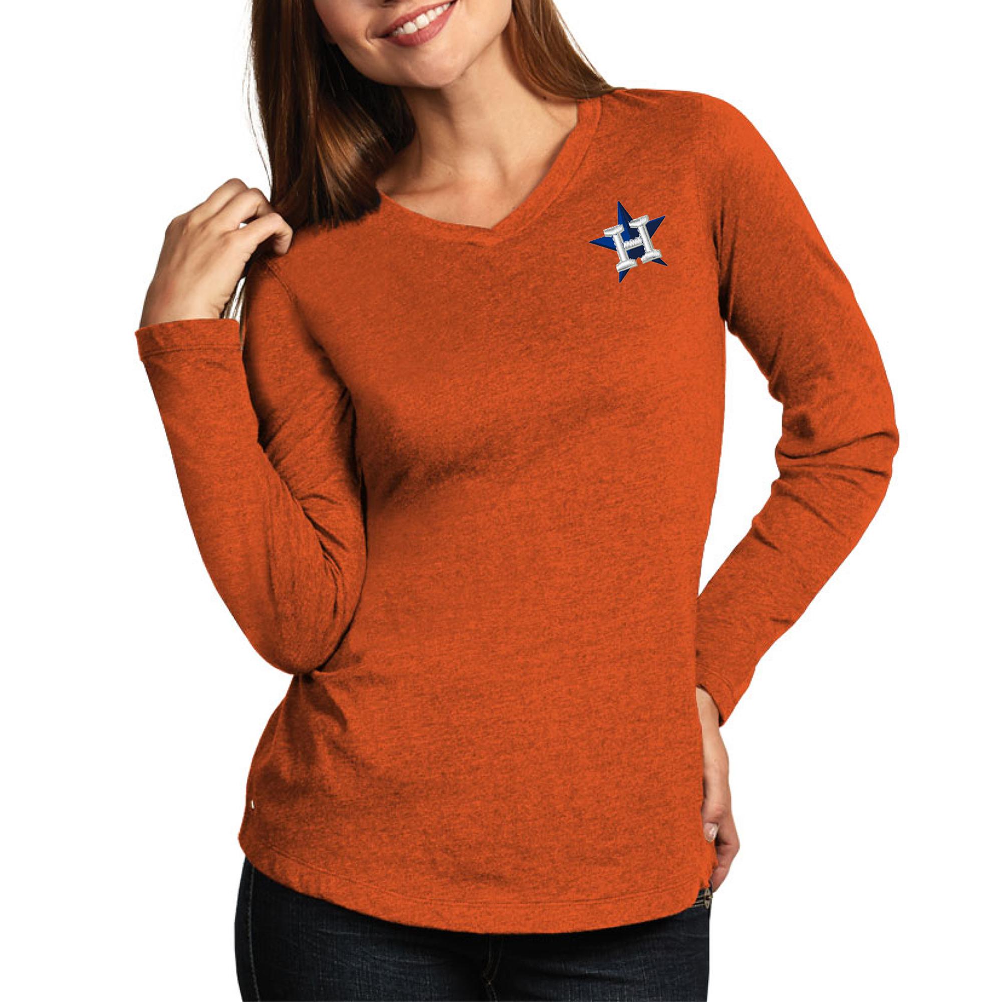 Houston Astros Antigua Women's Flip Long Sleeve T-Shirt - Heather Orange