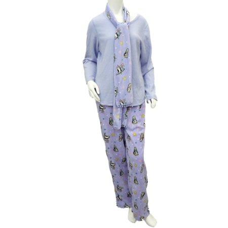 Jaclyn Intimates Womens Lilac Purple Penguin Fleece Pajamas 2 Piece Set Scarf