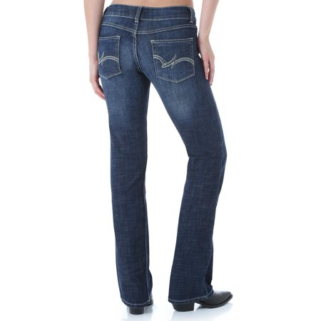 wrangler womens plus size western mid rise boot cut jean, -dark blue, (Dark Denim Mid Rise Boot Cut Jeans)
