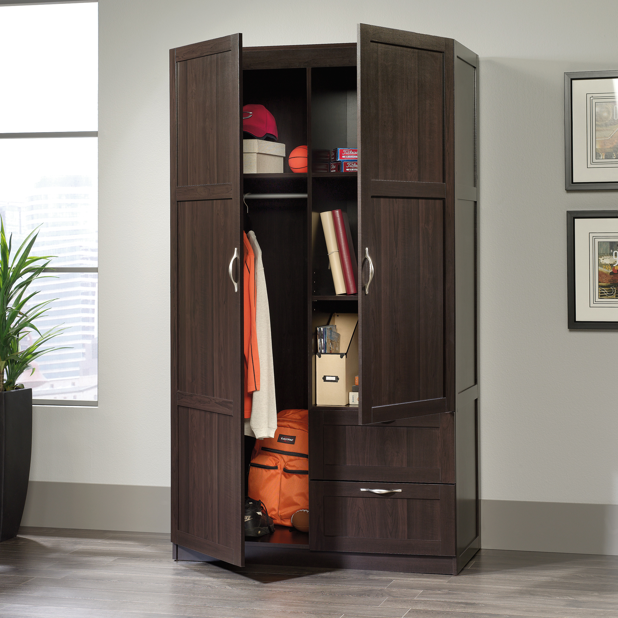 Sauder Select Storage Cabinet, Cinnamon Cherry Finish
