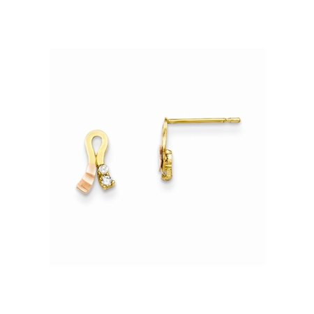 14k Yellow Rose Gold Ribbon Earrings 14k Gold Ribbon Earrings