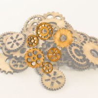Crafts - Gears 36 Count 1in Raw Wood