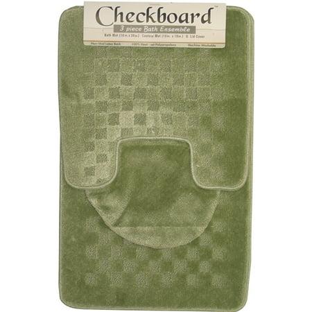 Contemporary Checkered 3 Piece Bathroom Shower Ensemble Bath Contour Rug Set