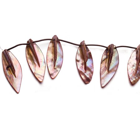 Mauve Mother-Of-Pearl Top Drilled Leaf Shell Beads Size:45x20mm