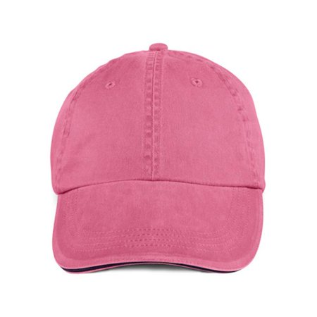 166 Solid Low Profile Sandwich Trim Pigment Dyed Twill Cap, Flamingo - One