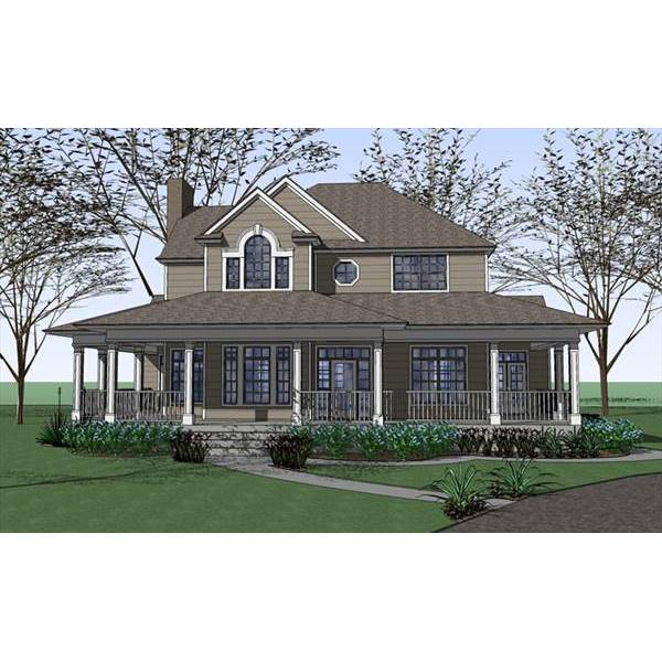 TheHouseDesigners-7401 Country House Plan with Slab Foundation (5 Printed Sets)