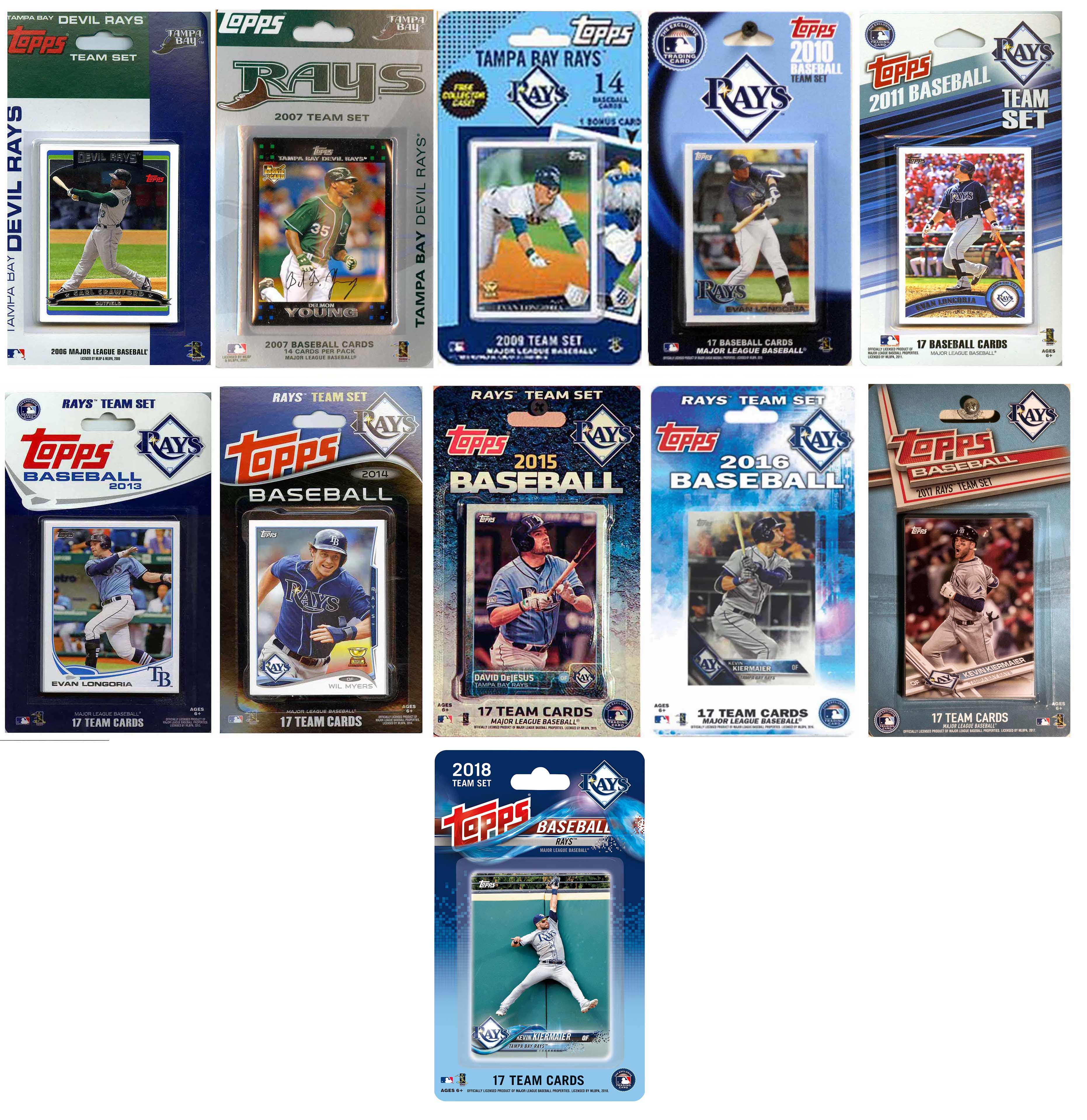 2018 MLB Tampa Bay Rays 11 Different Licensed Trading Card Team Sets