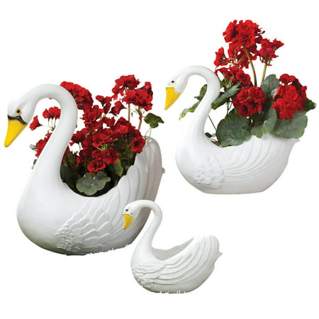 White Swan Planters, 3-Piece Set