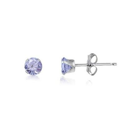 Lavendar Cubic Zirconia Earrings (Round 2mm Sterling Silver Lavender CZ Stud Earrings, Free Gift Box)