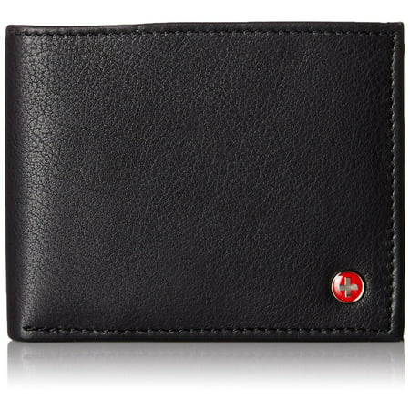 Alpine Swiss Mens Wallet Real Leather Bifold Trifold Hybrid Foldout ID Card Case (Embossed Tri Fold Wallet)