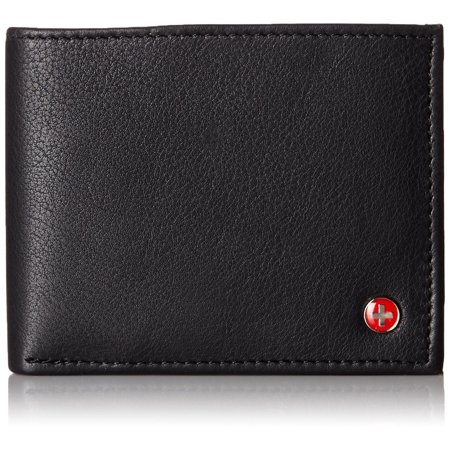 alpine swiss mens wallet real leather bifold trifold hybrid foldout id card
