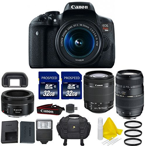 Canon EOS Digital Rebel T6s 24.2 MP SLR Digital Camera with Canon EF 50mm f 1.8 STM Lens + Canon EF-S 18-55mm... by