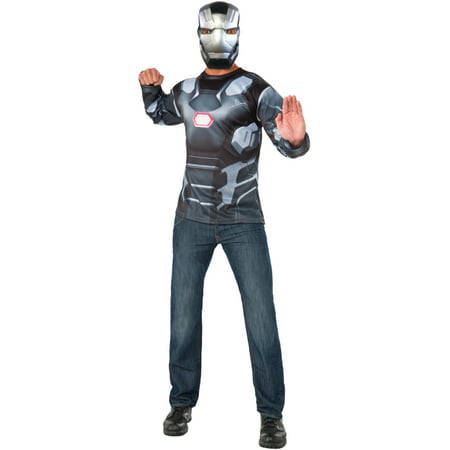 Mens Marvel Civil War Superhero War Machine Shirt And Mask Costume - Mens Superhero Costumes